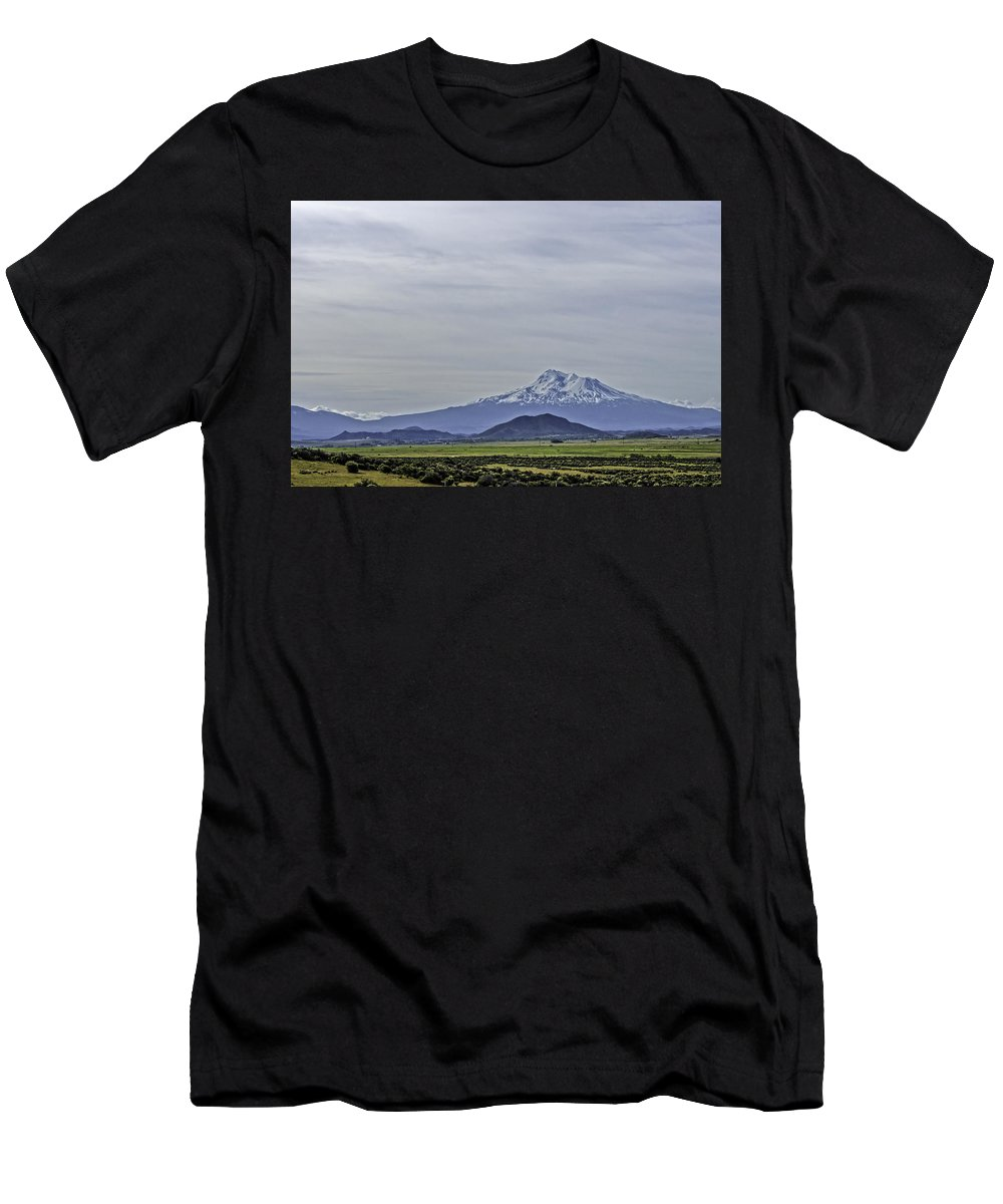 Mt Shasta Men's T-Shirt (Athletic Fit) featuring the photograph Mount Shasta Majesty by Mary Chris Hines