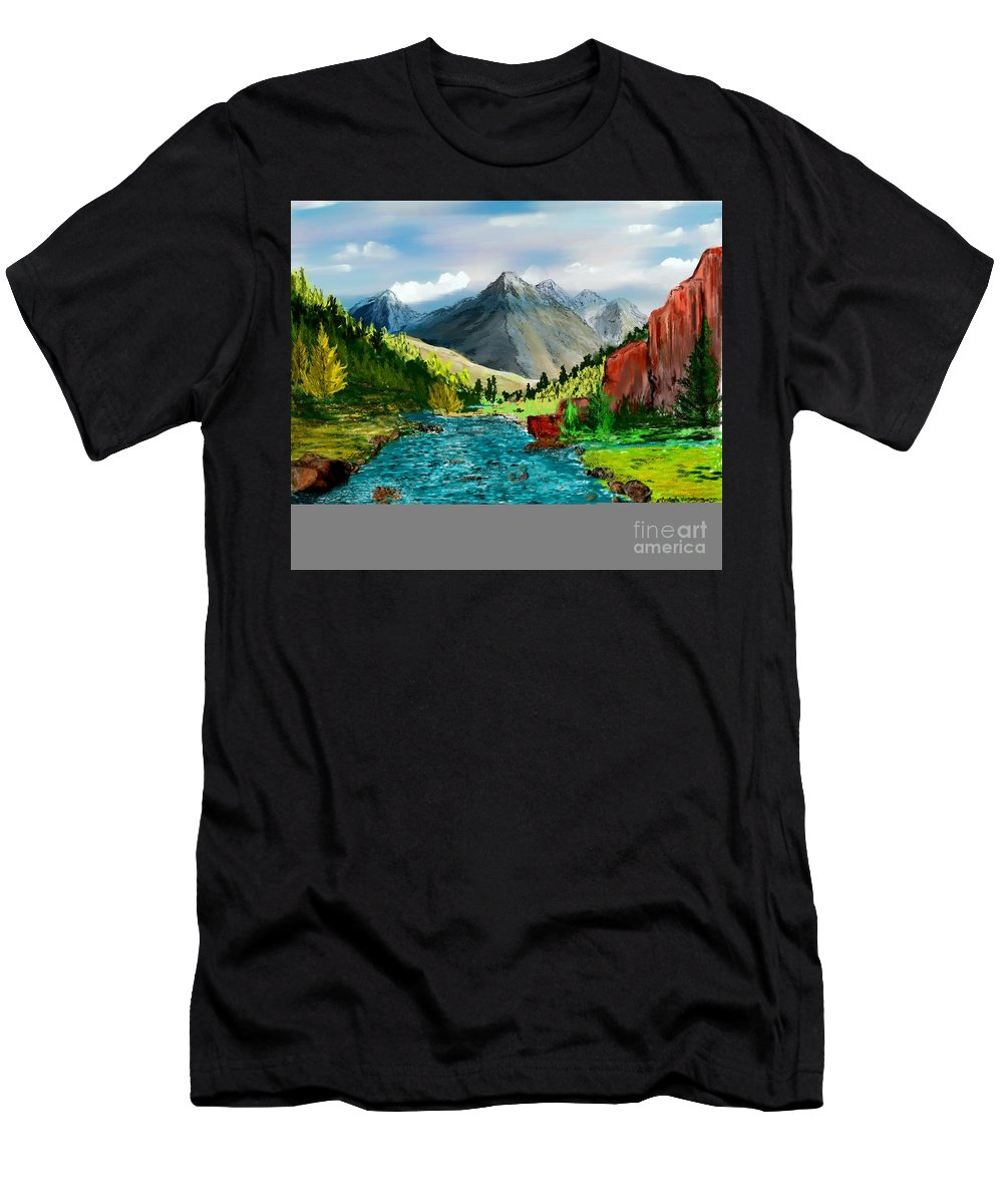 Digital Photograph Men's T-Shirt (Athletic Fit) featuring the digital art Mountaian Scene by David Lane