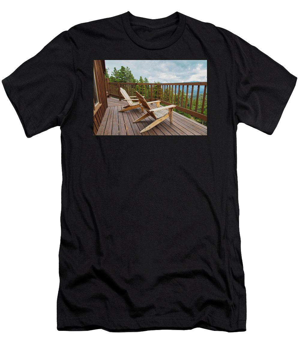 Adirondack Men's T-Shirt (Athletic Fit) featuring the photograph Mountain Adirondack Chairs by Lorraine Baum
