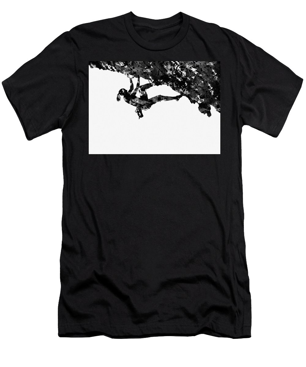 Mountain Climber Men's T-Shirt (Athletic Fit) featuring the digital art Mountain Climber-black by Erzebet S