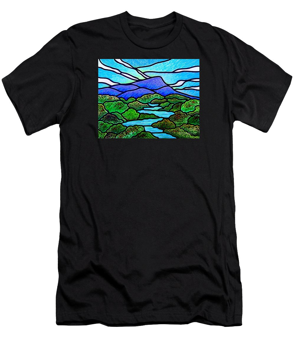 Paintings Men's T-Shirt (Athletic Fit) featuring the painting Mountain Glory by Jim Harris