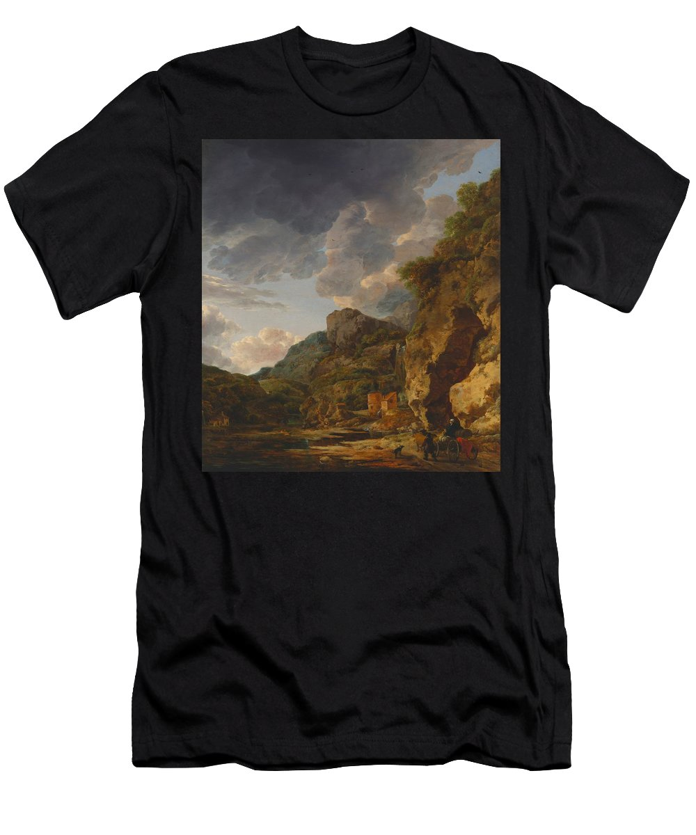 Painting Men's T-Shirt (Athletic Fit) featuring the painting Mountain Landscape With River And Wagon by Mountain Dreams