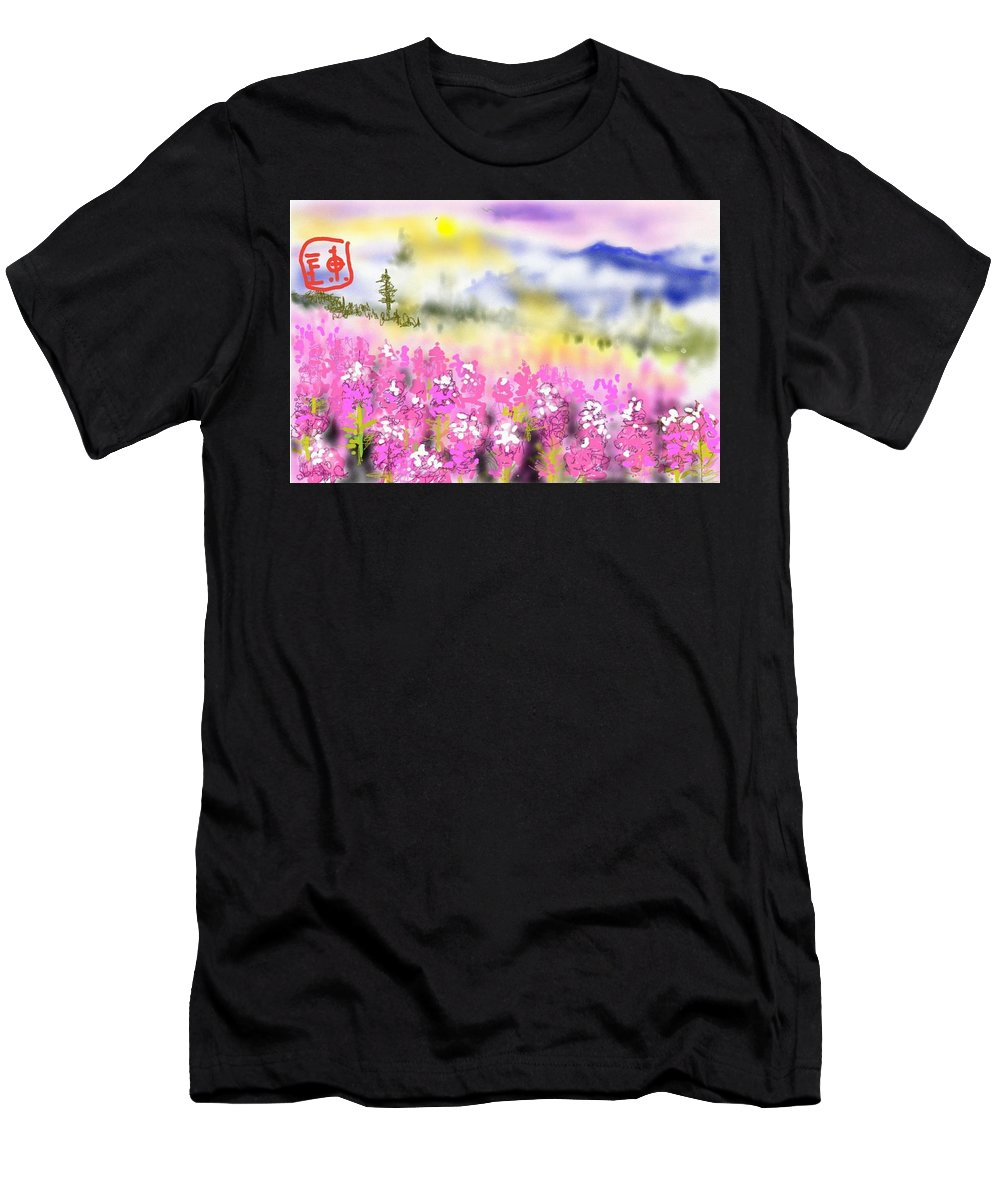 Landscape. Sunset. Mountains Men's T-Shirt (Athletic Fit) featuring the digital art Mountain Landscspe by Debbi Saccomanno Chan