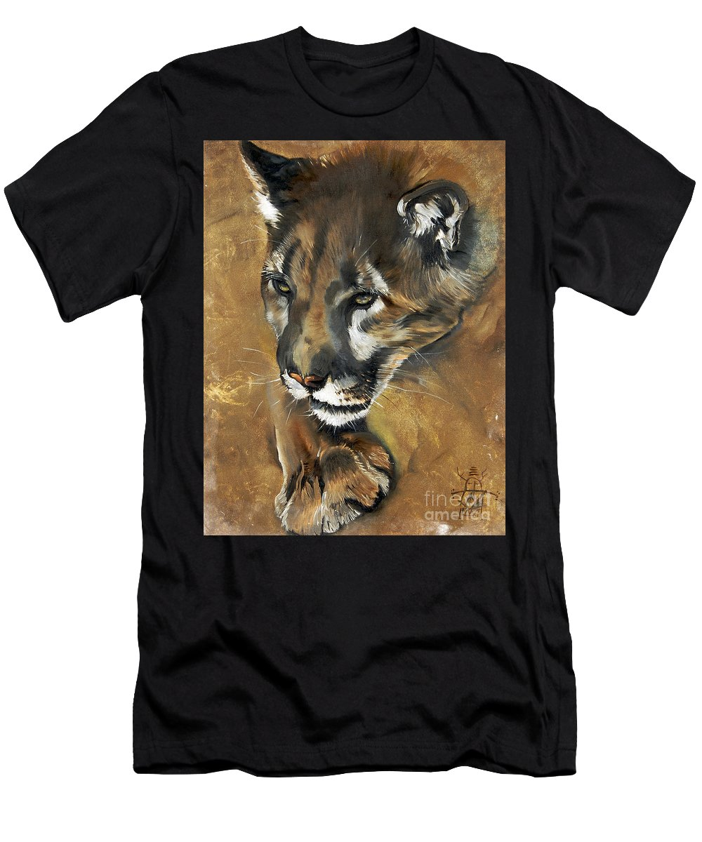 Southwest Art Men's T-Shirt (Athletic Fit) featuring the painting Mountain Lion - Guardian Of The North by J W Baker