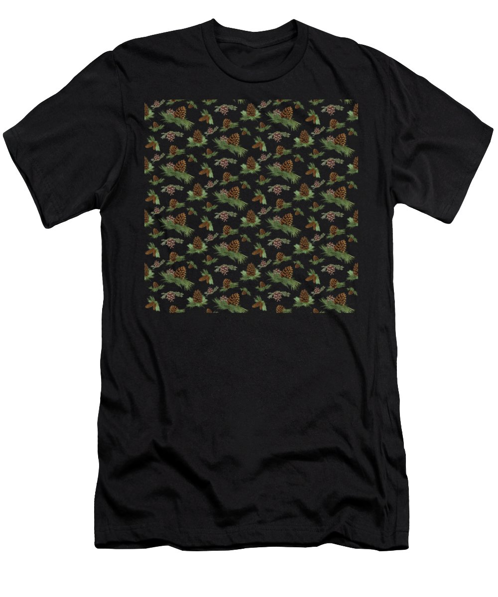 Pine Cones Men's T-Shirt (Athletic Fit) featuring the painting Mountain Lodge Cabin In The Forest - Home Decor Pine Cones by Audrey Jeanne Roberts