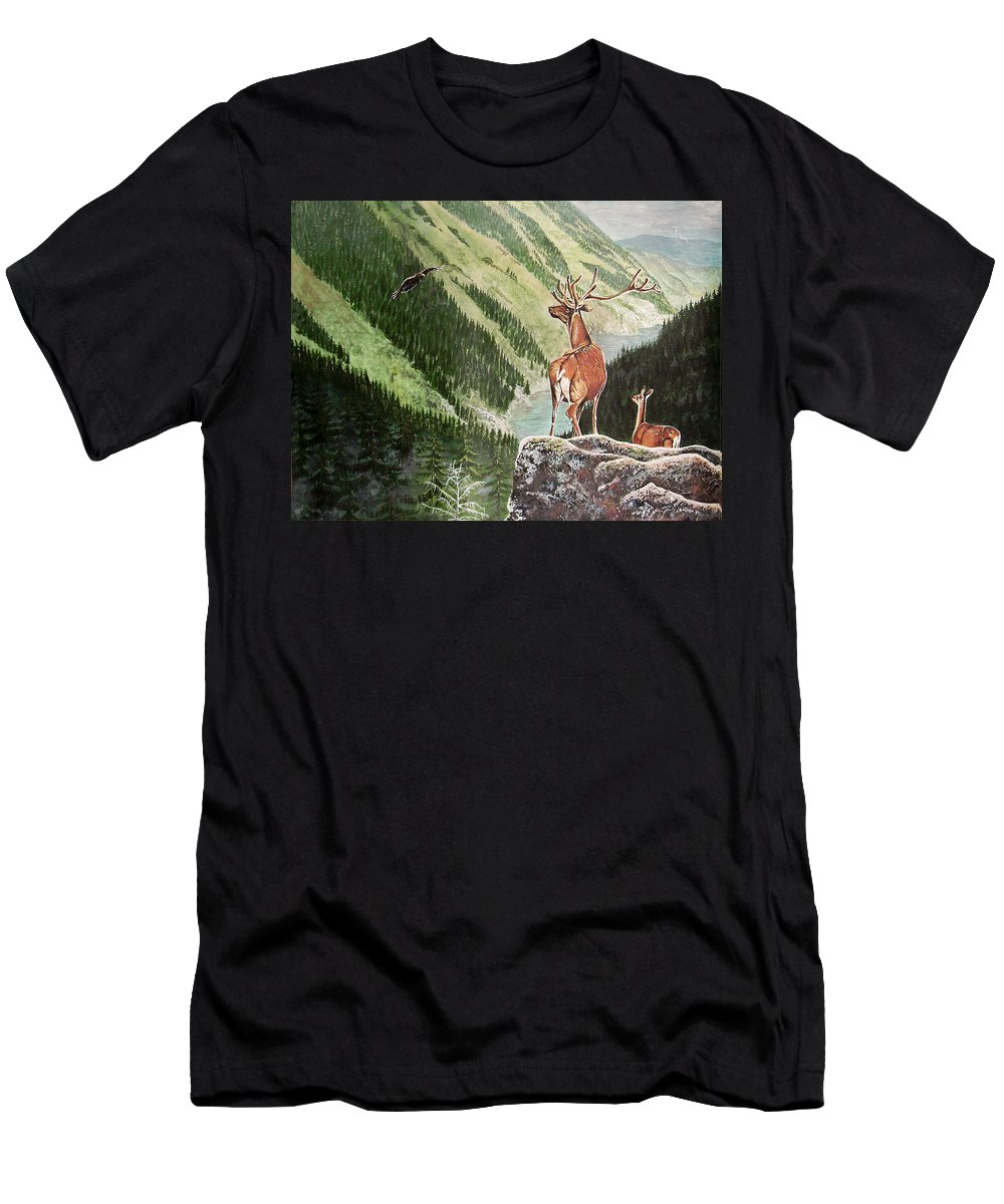 Deer Men's T-Shirt (Athletic Fit) featuring the painting Mountain Morning by Arie Van der Wijst
