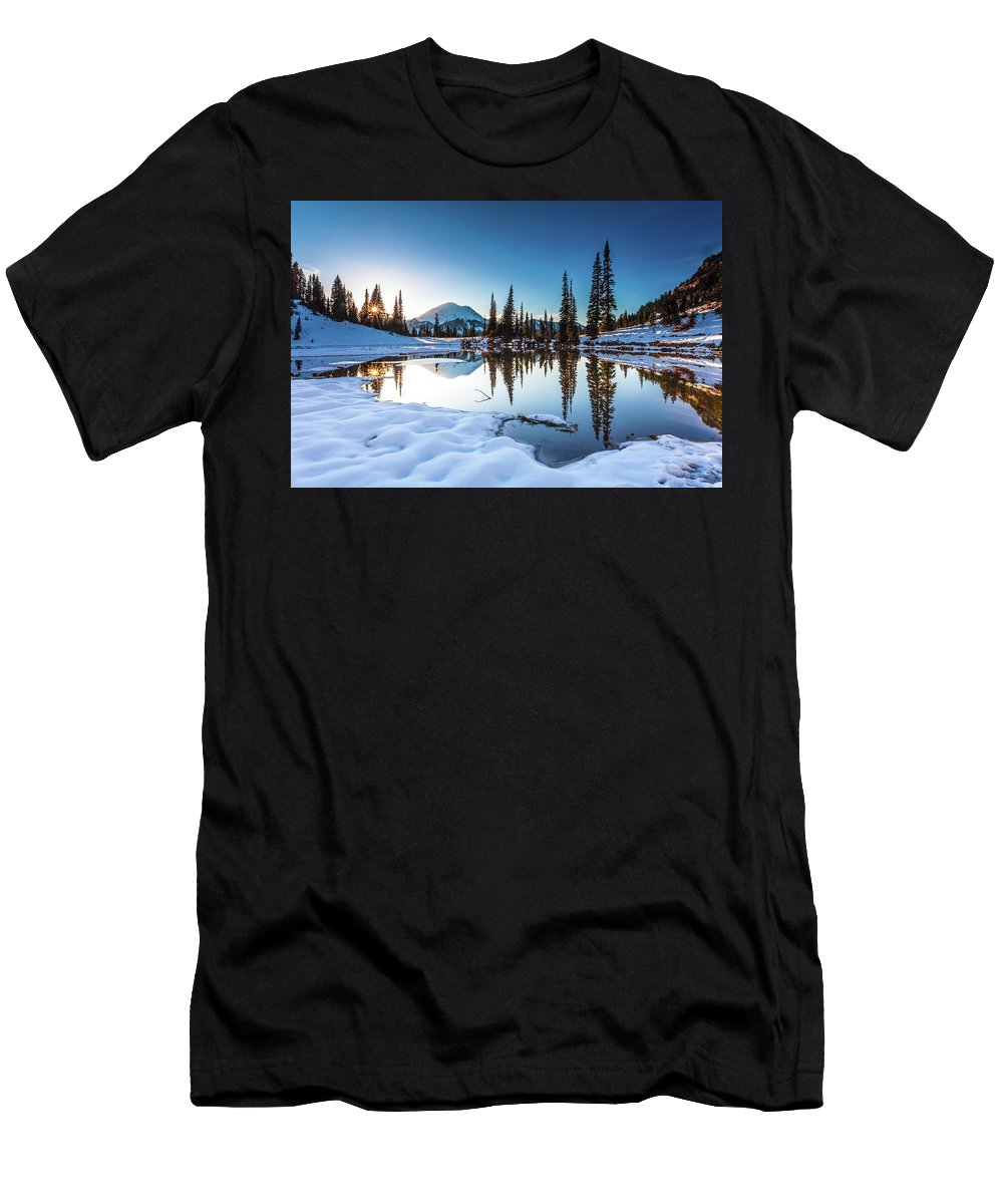 National Parks Men's T-Shirt (Athletic Fit) featuring the photograph Mountain Peace by Larry Waldon