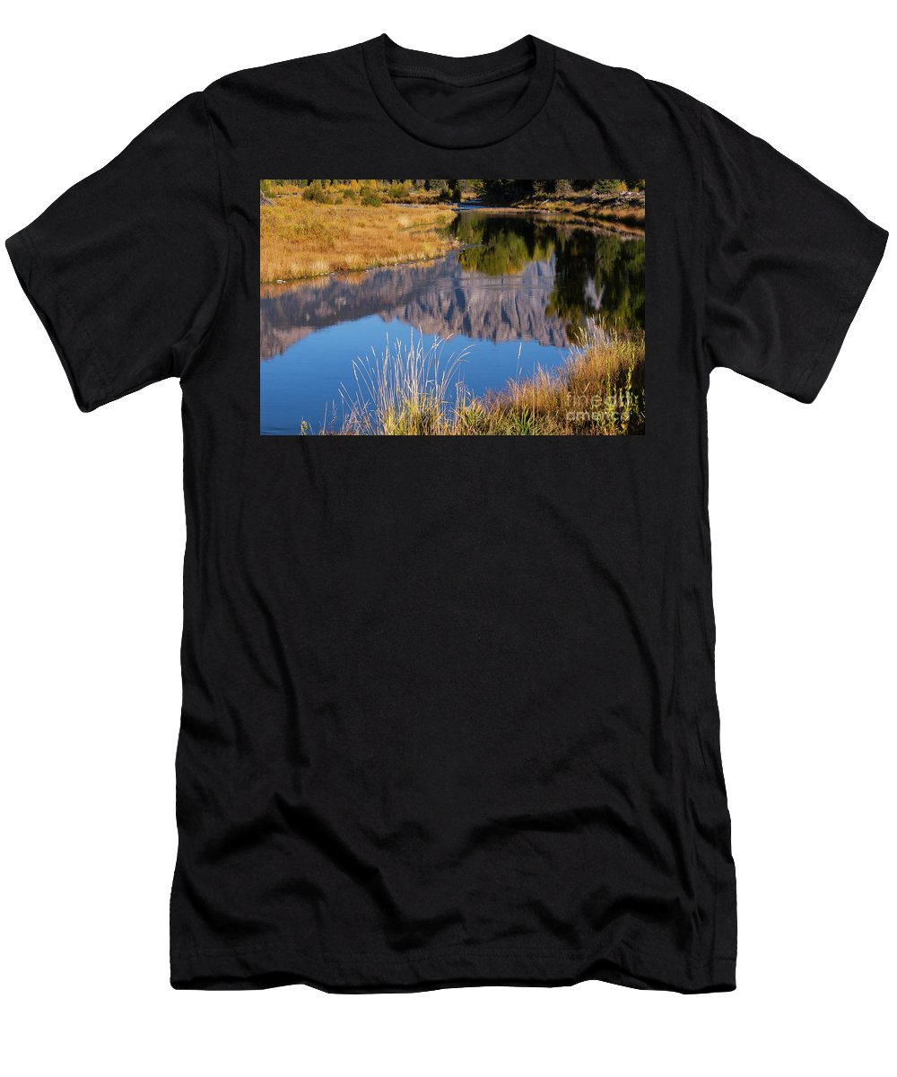 Schwabacher's Landing Men's T-Shirt (Athletic Fit) featuring the photograph Mountain Reflection by Bob Phillips