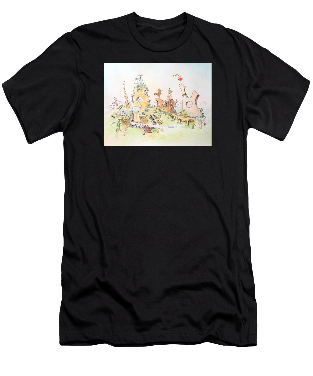 Landscape Men's T-Shirt (Athletic Fit) featuring the painting Mountain Retreat by Dave Martsolf