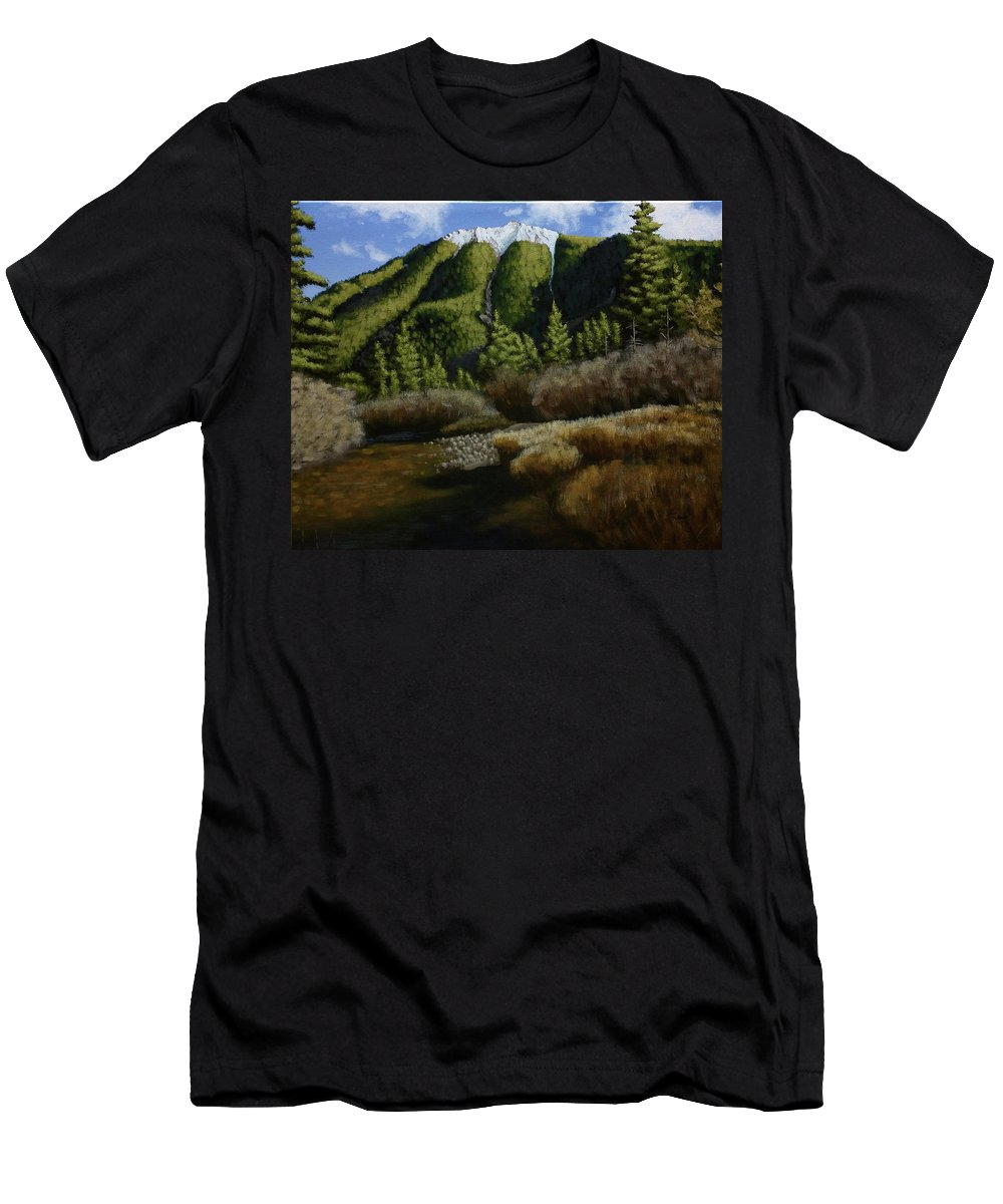 Landscapes Men's T-Shirt (Athletic Fit) featuring the painting Mountain Stream by Dan Wheeler