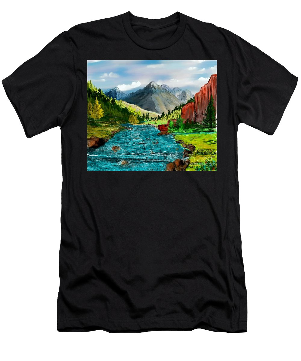 Nature Men's T-Shirt (Athletic Fit) featuring the digital art Mountain Stream by David Lane
