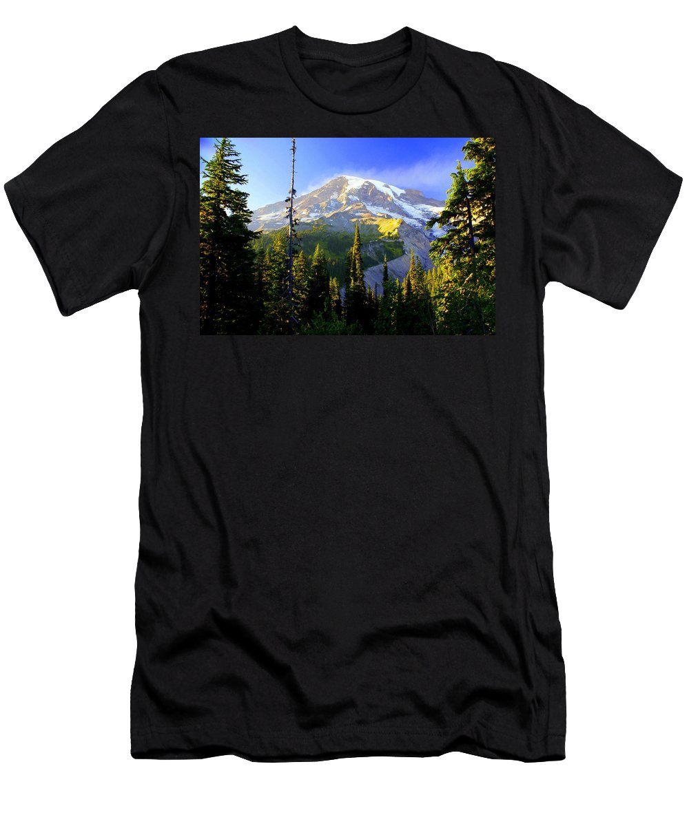 Mountain Men's T-Shirt (Athletic Fit) featuring the photograph Mountain Sunset by Marty Koch