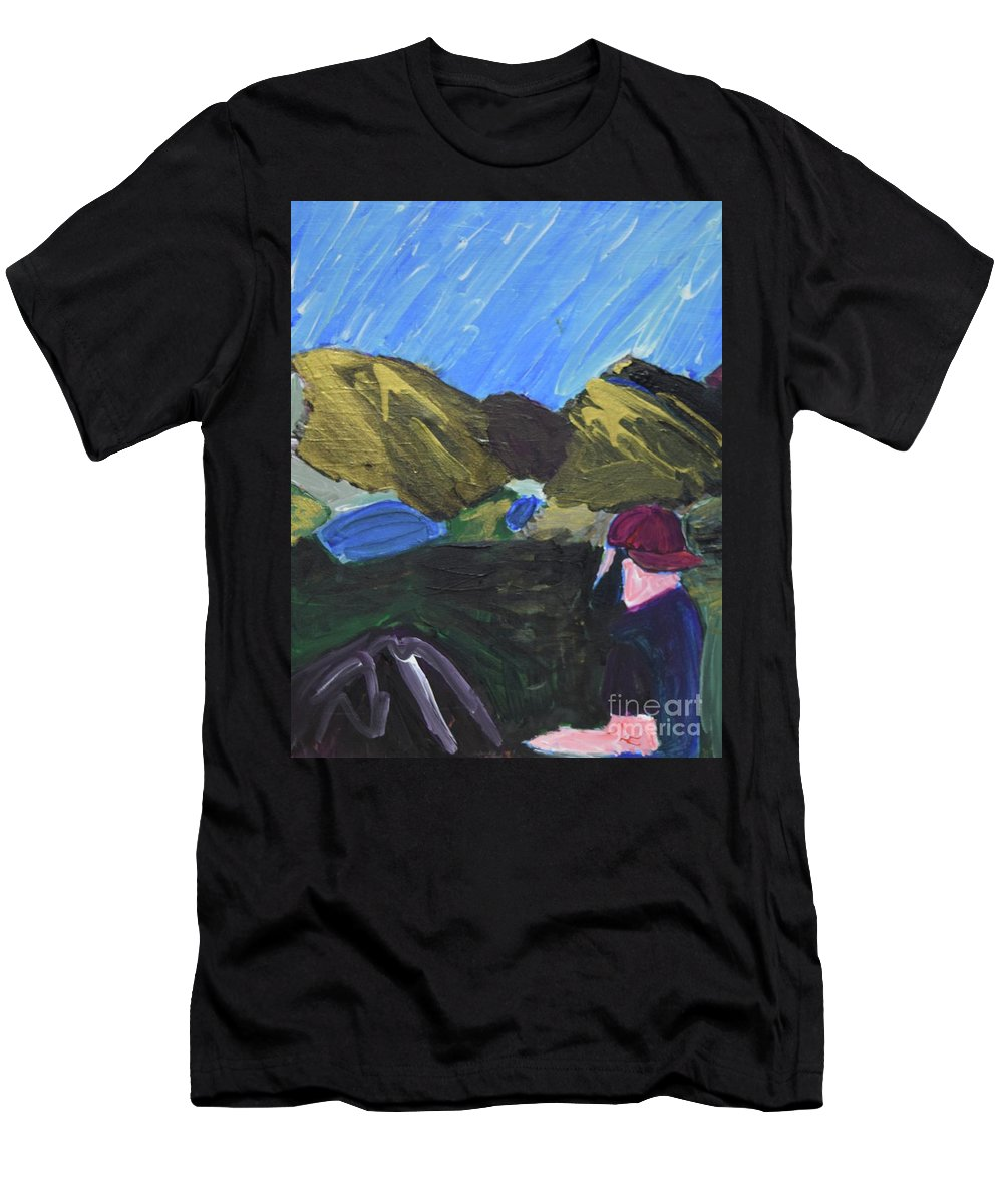 #hiking #art #fineart Men's T-Shirt (Athletic Fit) featuring the painting Mountain Top by Aj Watson
