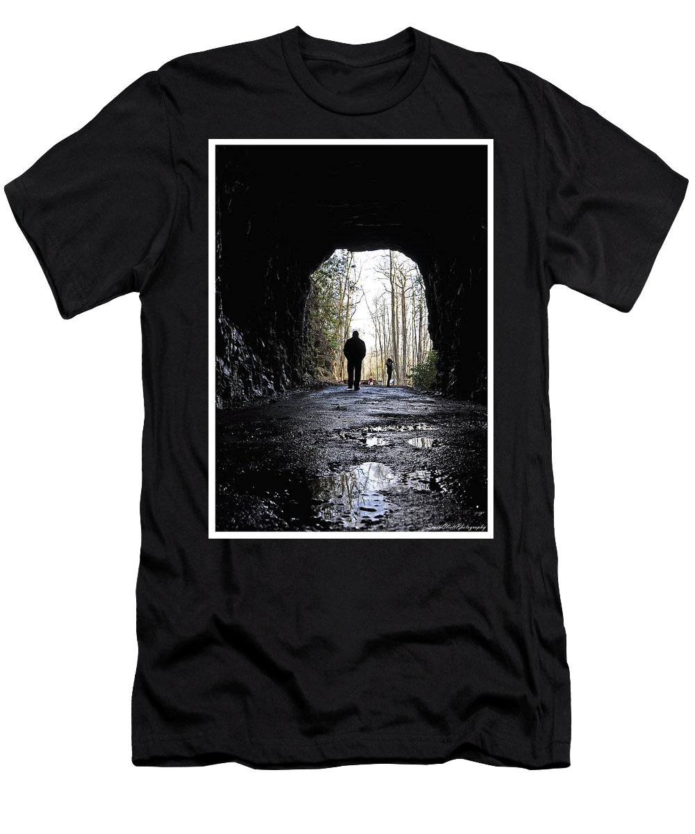 Photography Men's T-Shirt (Athletic Fit) featuring the photograph Mountain Tunnel by Susan Cliett