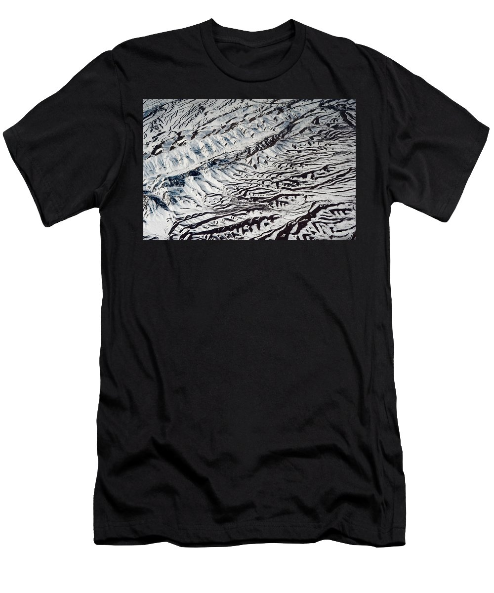 Aerial Men's T-Shirt (Athletic Fit) featuring the photograph Mountains Patterns. Aerial View by Jenny Rainbow