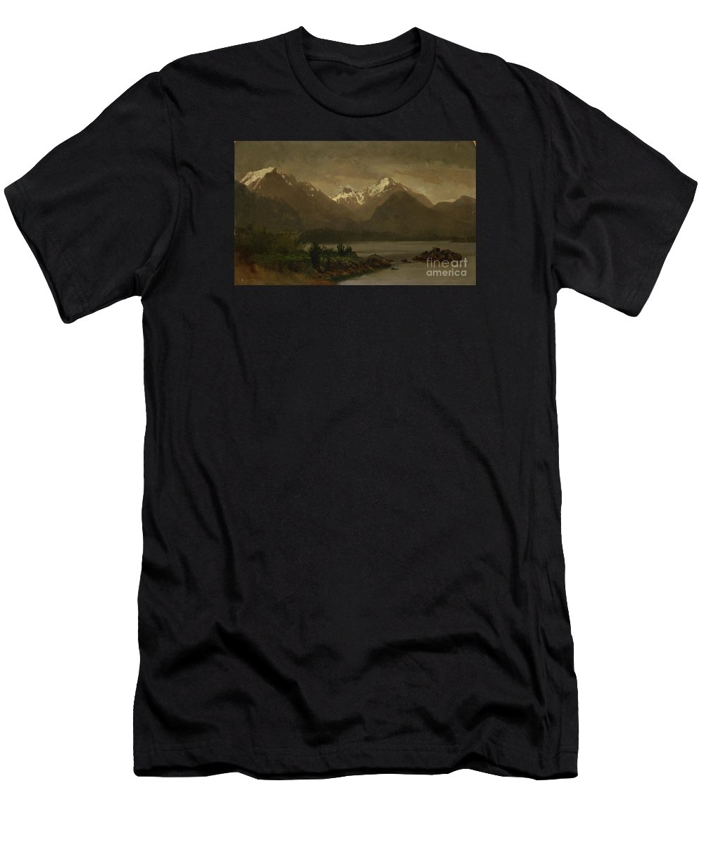 Albert_bierstadt_-_untitled_(mountains_and_lake) Men's T-Shirt (Athletic Fit) featuring the painting Mountains_and_lake by Celestial Images