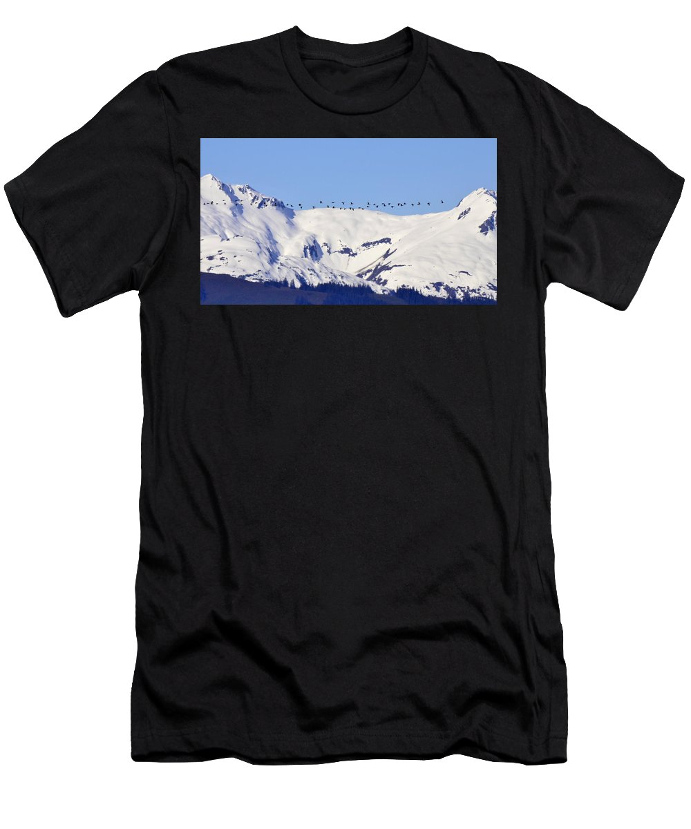 Birds Men's T-Shirt (Athletic Fit) featuring the photograph Mountaintop Geese by Larry Poulsen