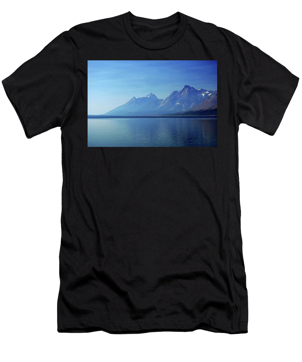 Blue Men's T-Shirt (Athletic Fit) featuring the photograph Moutains In Blue by Jessica Michaels