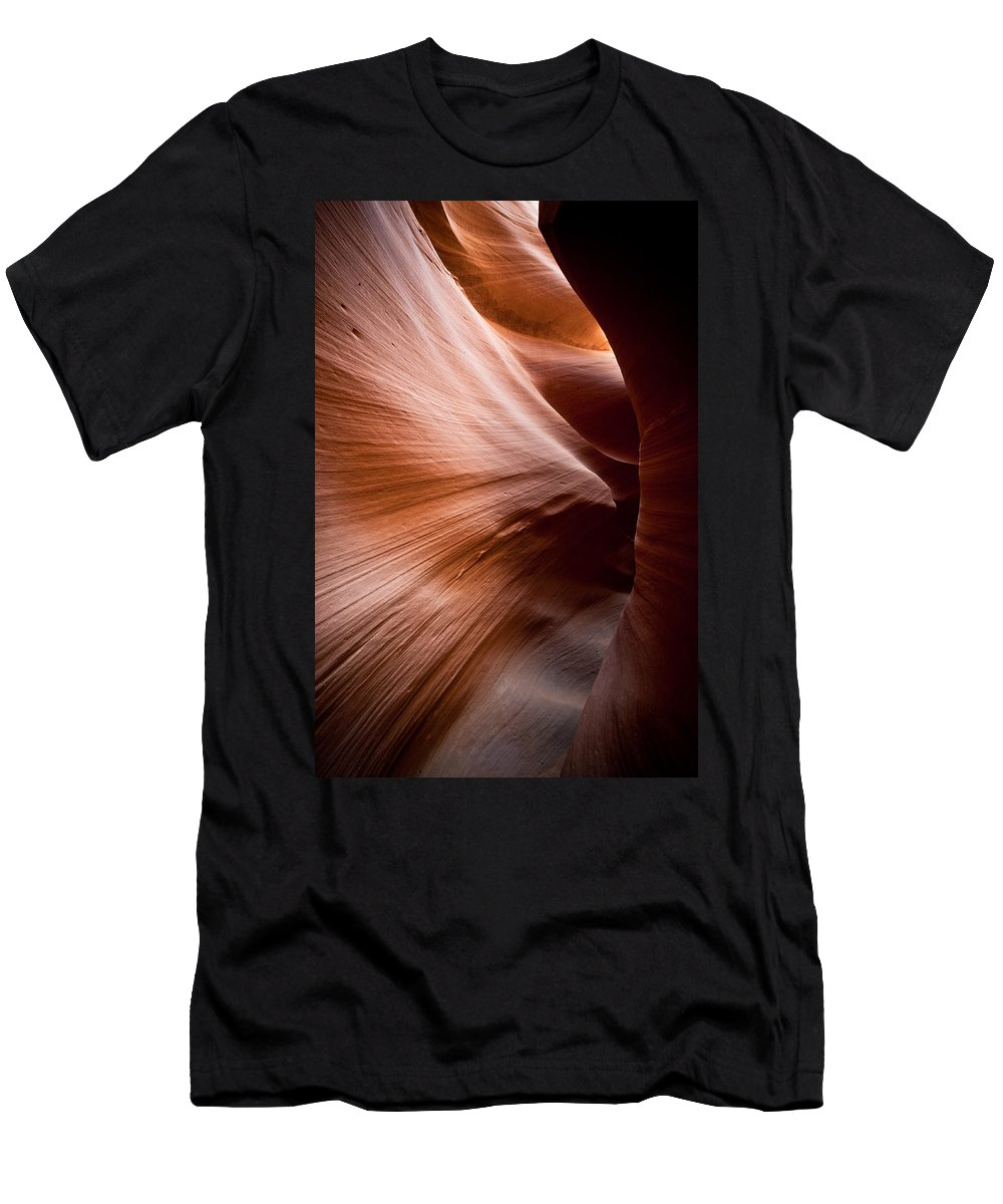 Slot Canyon Men's T-Shirt (Athletic Fit) featuring the photograph Moving Canyon by Scott Sawyer