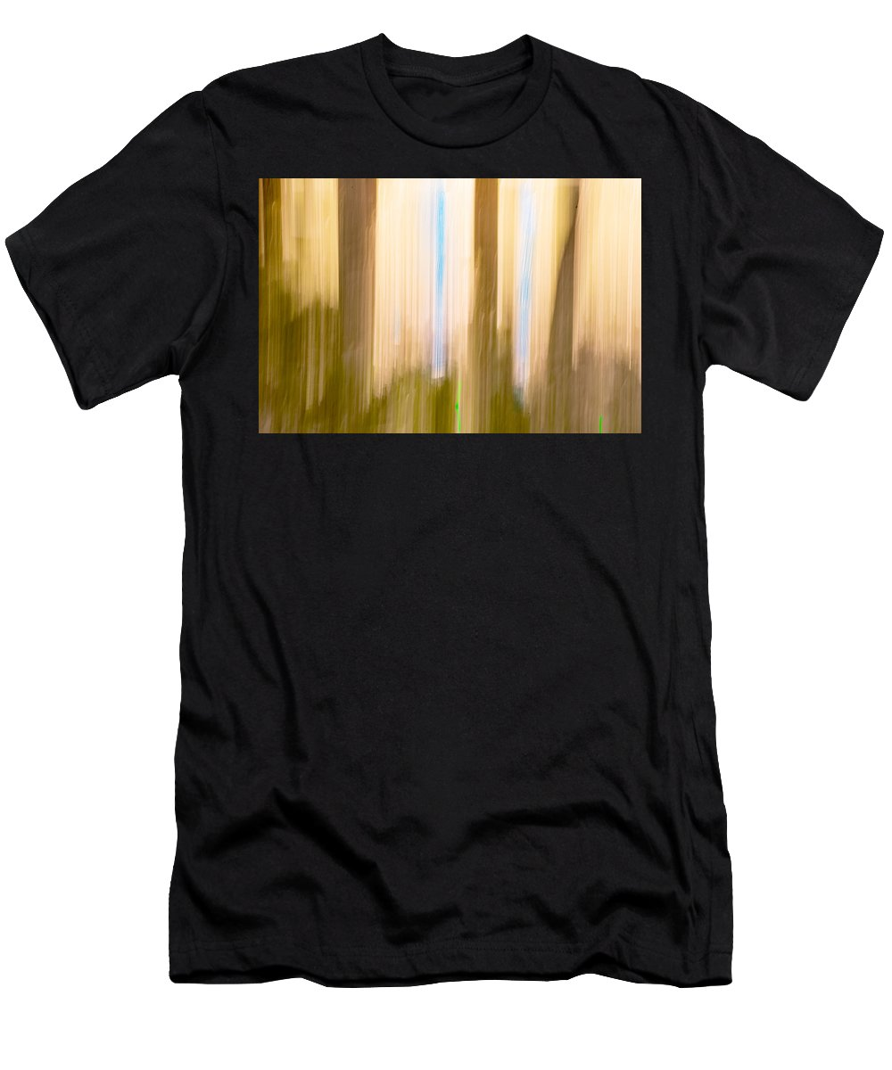 Moving Men's T-Shirt (Athletic Fit) featuring the photograph Moving Trees 15 Gold Brown by Gene Norris