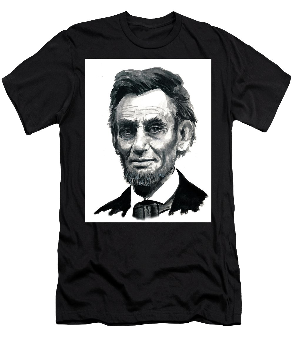 Lincoln President Man Of Honor Men's T-Shirt (Athletic Fit) featuring the painting Mr President by Murry Whiteman