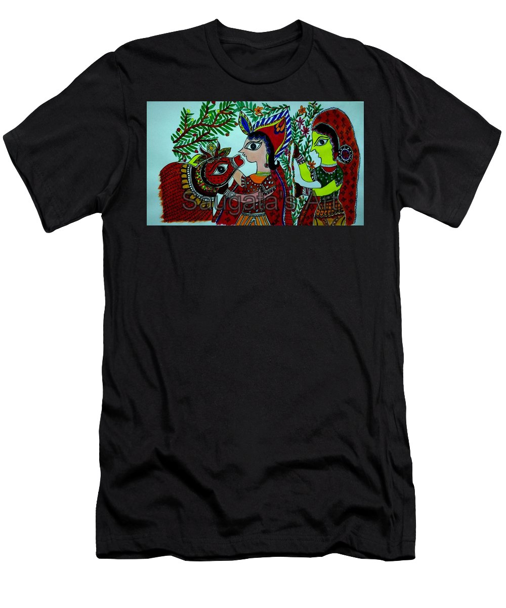 Madhubani Painting Men's T-Shirt (Athletic Fit) featuring the painting Love And Worship For Cow by Saugata