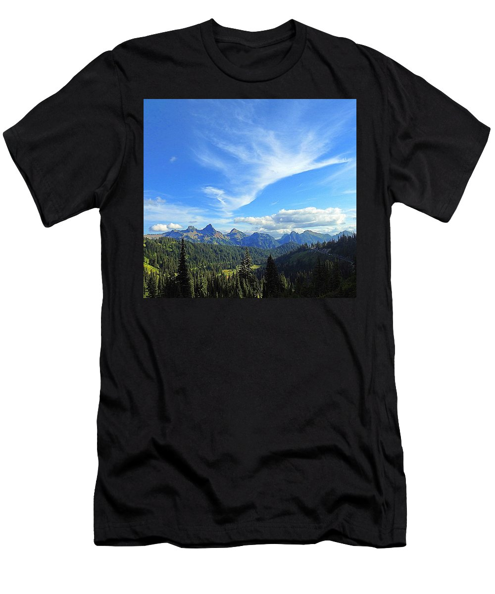 Cloud Men's T-Shirt (Athletic Fit) featuring the photograph Mt. Rainier National Park by Sandra Peery