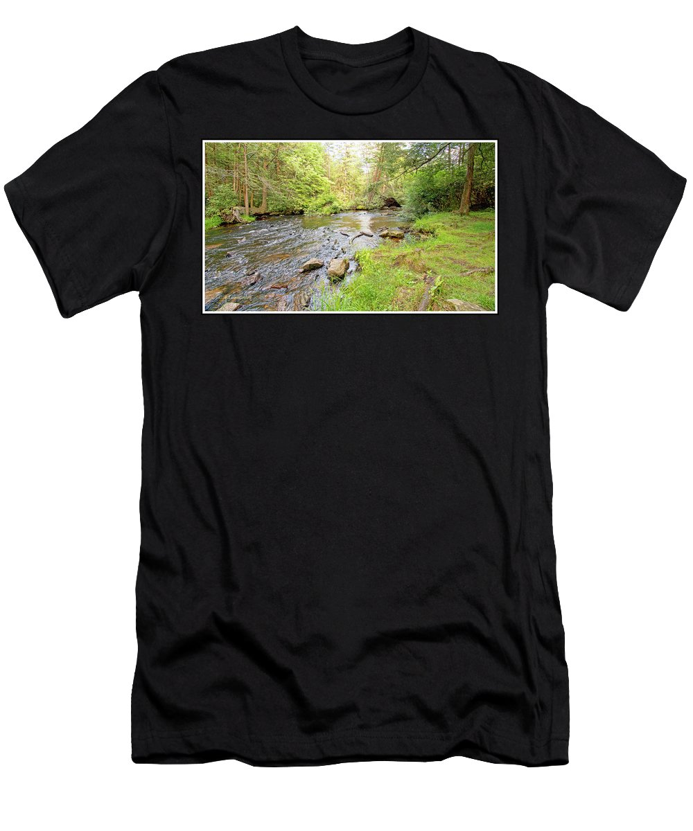 Mud Run Men's T-Shirt (Athletic Fit) featuring the photograph Mud Run, Pennsylvania, Pocono Mountain Stream by A Gurmankin