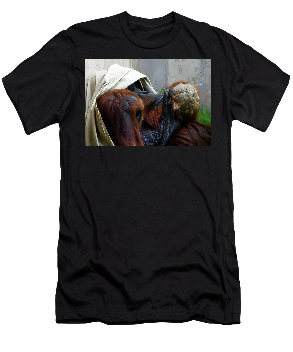 Orangutang Men's T-Shirt (Athletic Fit) featuring the photograph Muffin Top by Trish Tritz