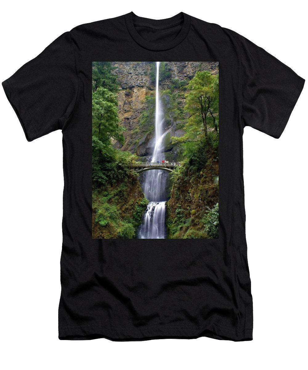 Waterfalls Men's T-Shirt (Athletic Fit) featuring the photograph Multanomah Falls by Marty Koch