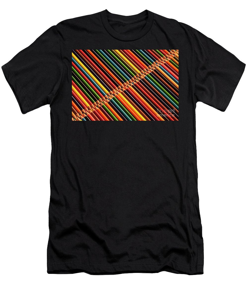 Abstract Men's T-Shirt (Athletic Fit) featuring the photograph Multicolored Pencils In Rows by Jim Corwin