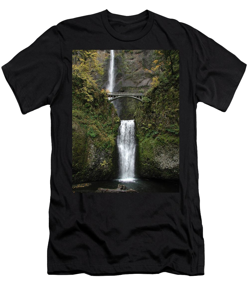 Multnomah Falls Men's T-Shirt (Athletic Fit) featuring the photograph Multnomah Falls 1 by D'Arcy Evans
