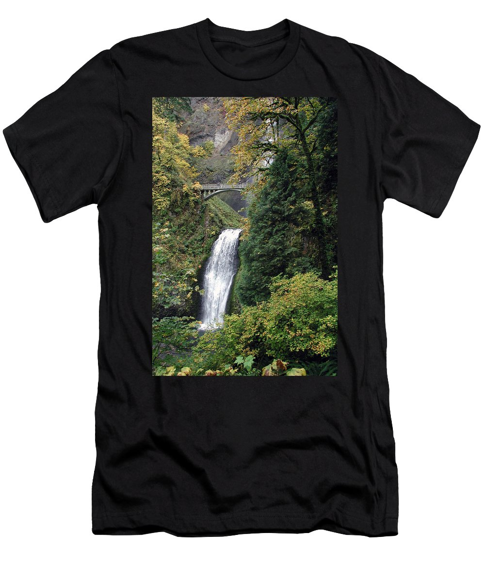 Multnomah Men's T-Shirt (Athletic Fit) featuring the photograph Multnomah Falls 3 by D'Arcy Evans
