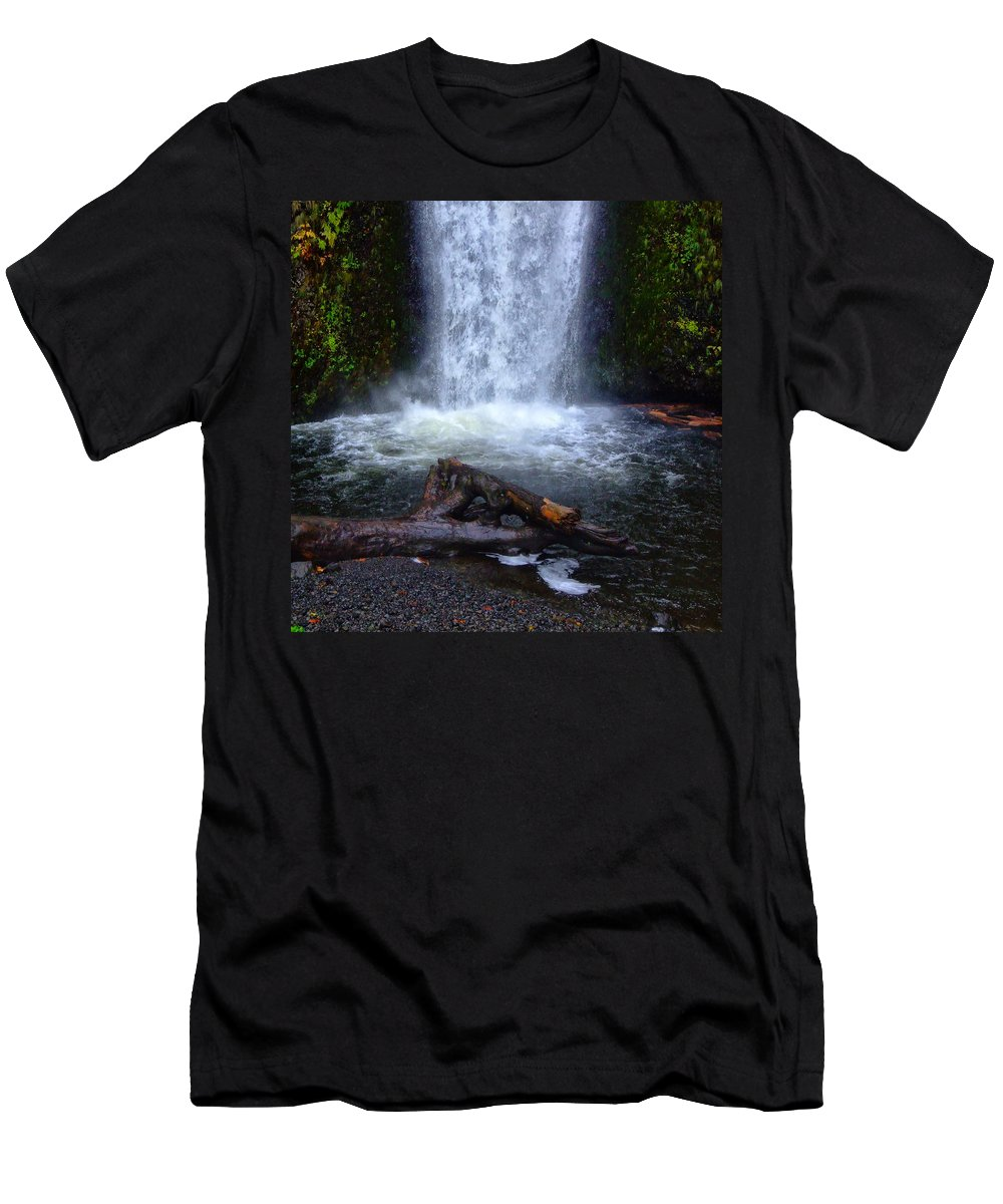 Clearwater Falls Men's T-Shirt (Athletic Fit) featuring the photograph Multnomah Falls 5 by Ingrid Smith-Johnsen