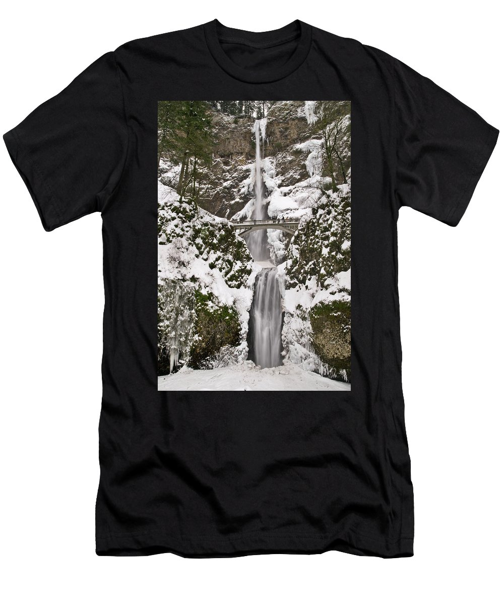 Multnomah Falls Winter Wonderland Men's T-Shirt (Athletic Fit) featuring the photograph Multnomah Falls Winter by Wes and Dotty Weber