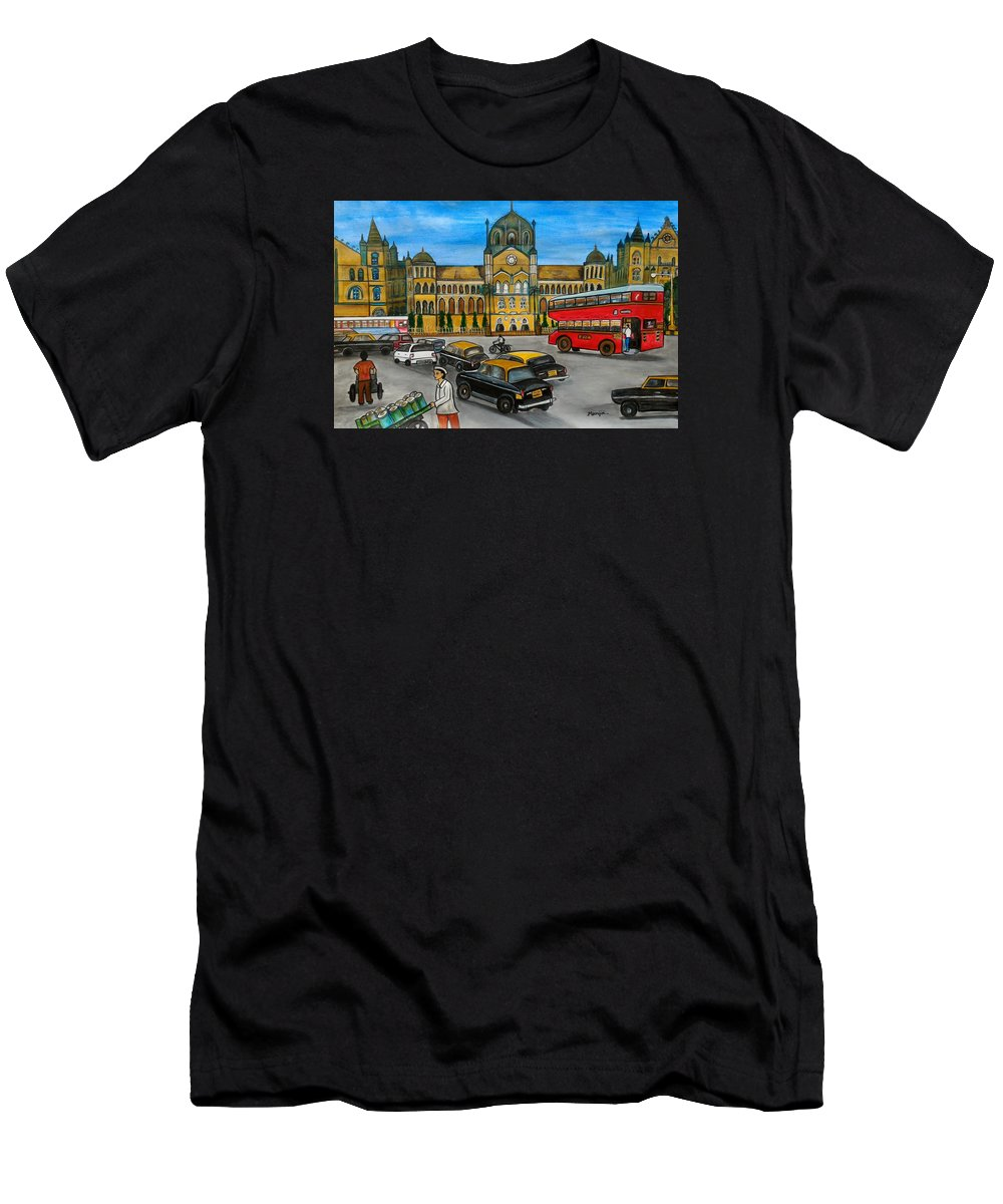 Mumbai T-Shirt featuring the painting Mumbai Meri Jaan by Manjiri Kanvinde