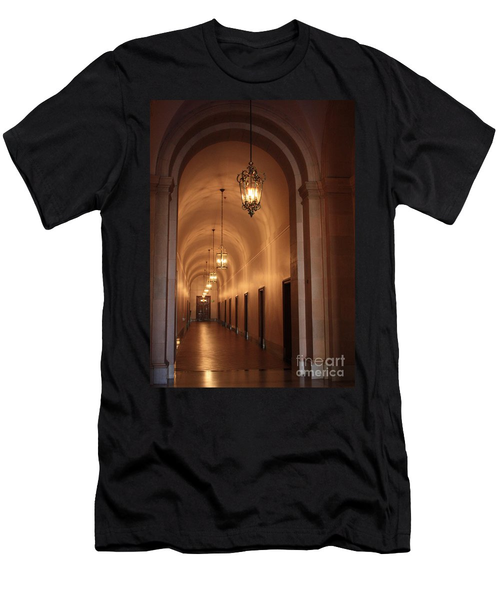 Hallway Men's T-Shirt (Athletic Fit) featuring the photograph Museum Hallway by Carol Groenen