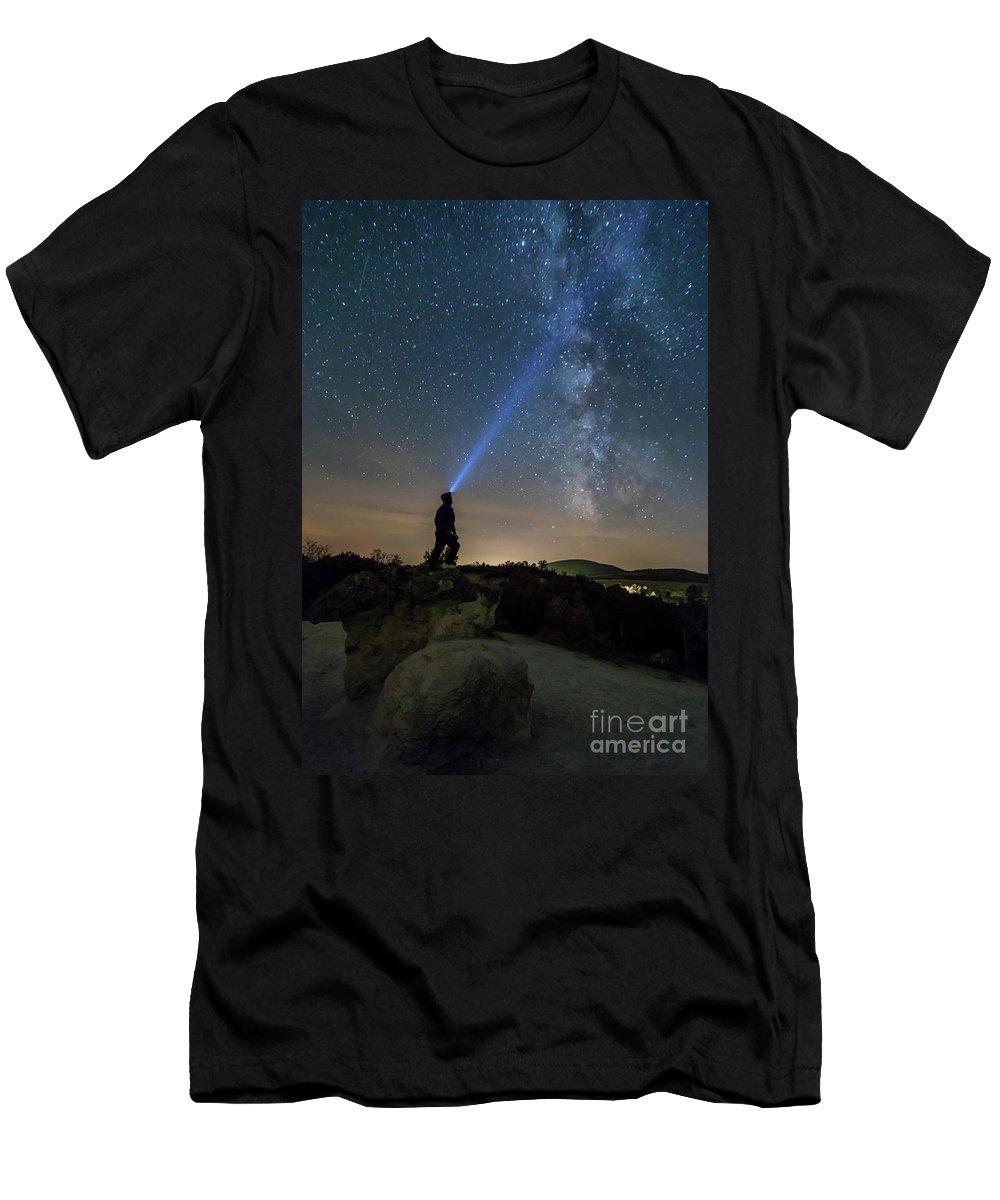 Adventure Men's T-Shirt (Athletic Fit) featuring the photograph Mushroom Rocks Phenomenon Under The Night Sky by Nikolay Stoimenov