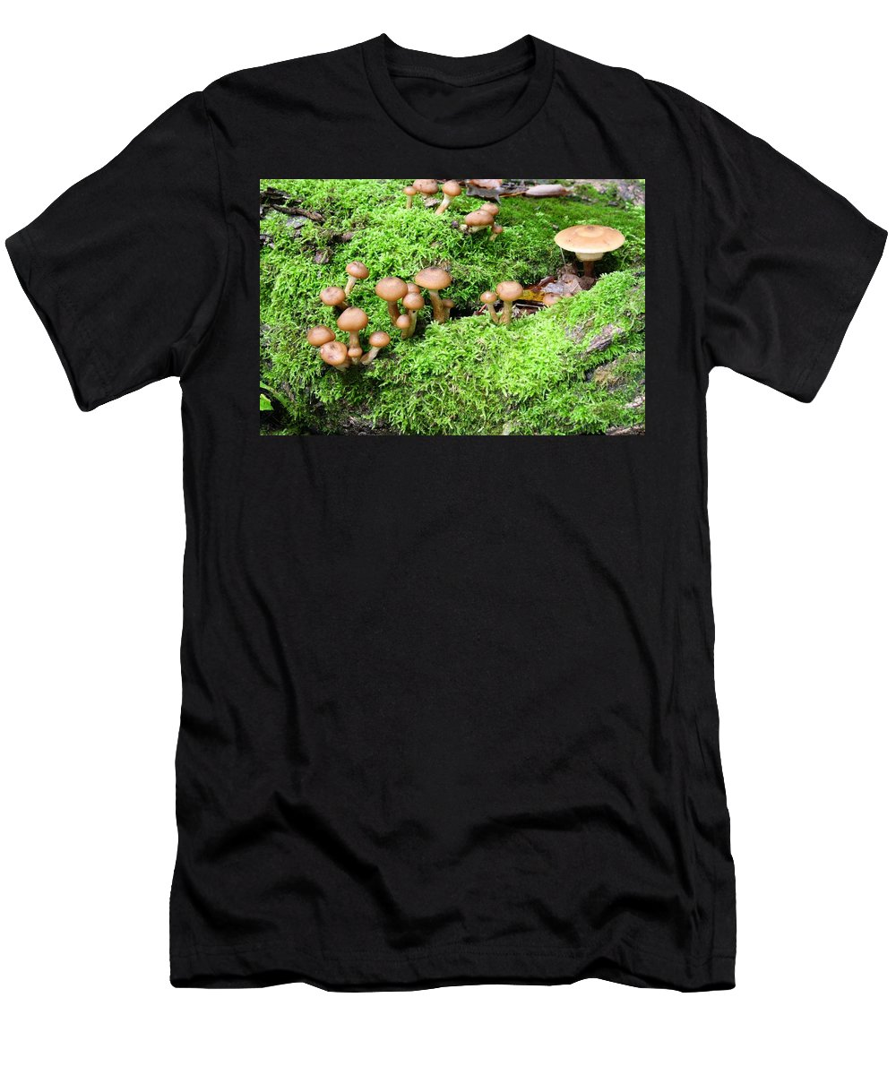 Mushroom Men's T-Shirt (Athletic Fit) featuring the photograph Mushrooms And Moss 2 by Devon Kotke