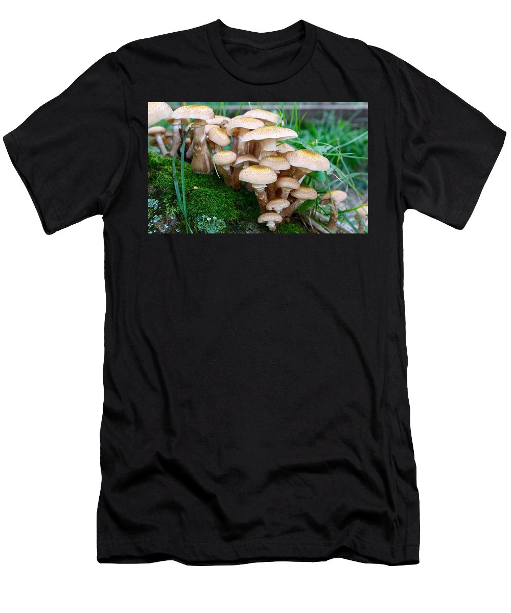 Fungus Men's T-Shirt (Athletic Fit) featuring the photograph Mushrooms And Moss by Devon Kotke