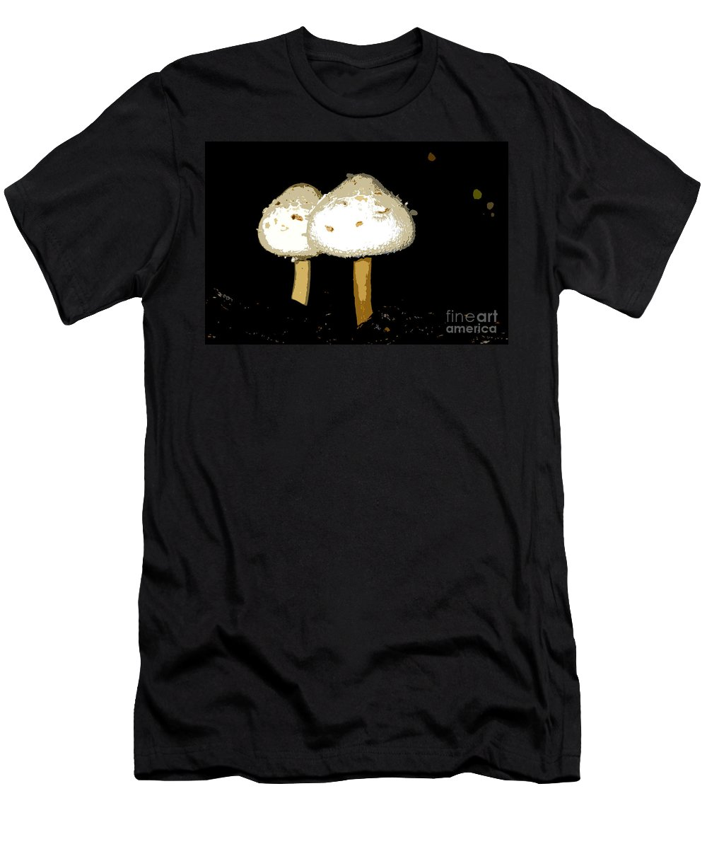 Mushrooms Men's T-Shirt (Athletic Fit) featuring the photograph Mushrooms For Two Work Number 11 by David Lee Thompson