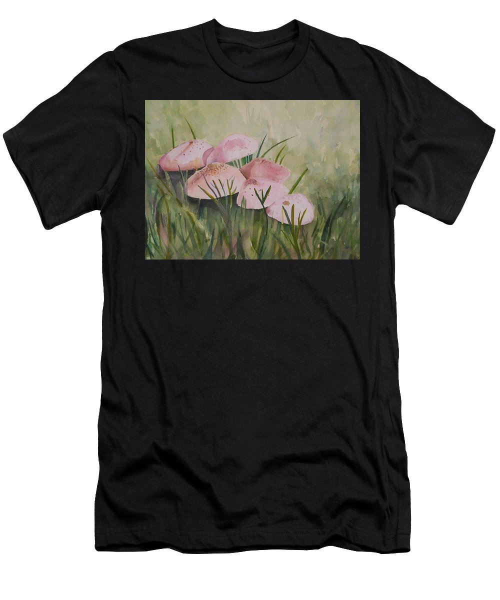 Landscape Men's T-Shirt (Athletic Fit) featuring the painting Mushrooms by Suzanne Udell Levinger