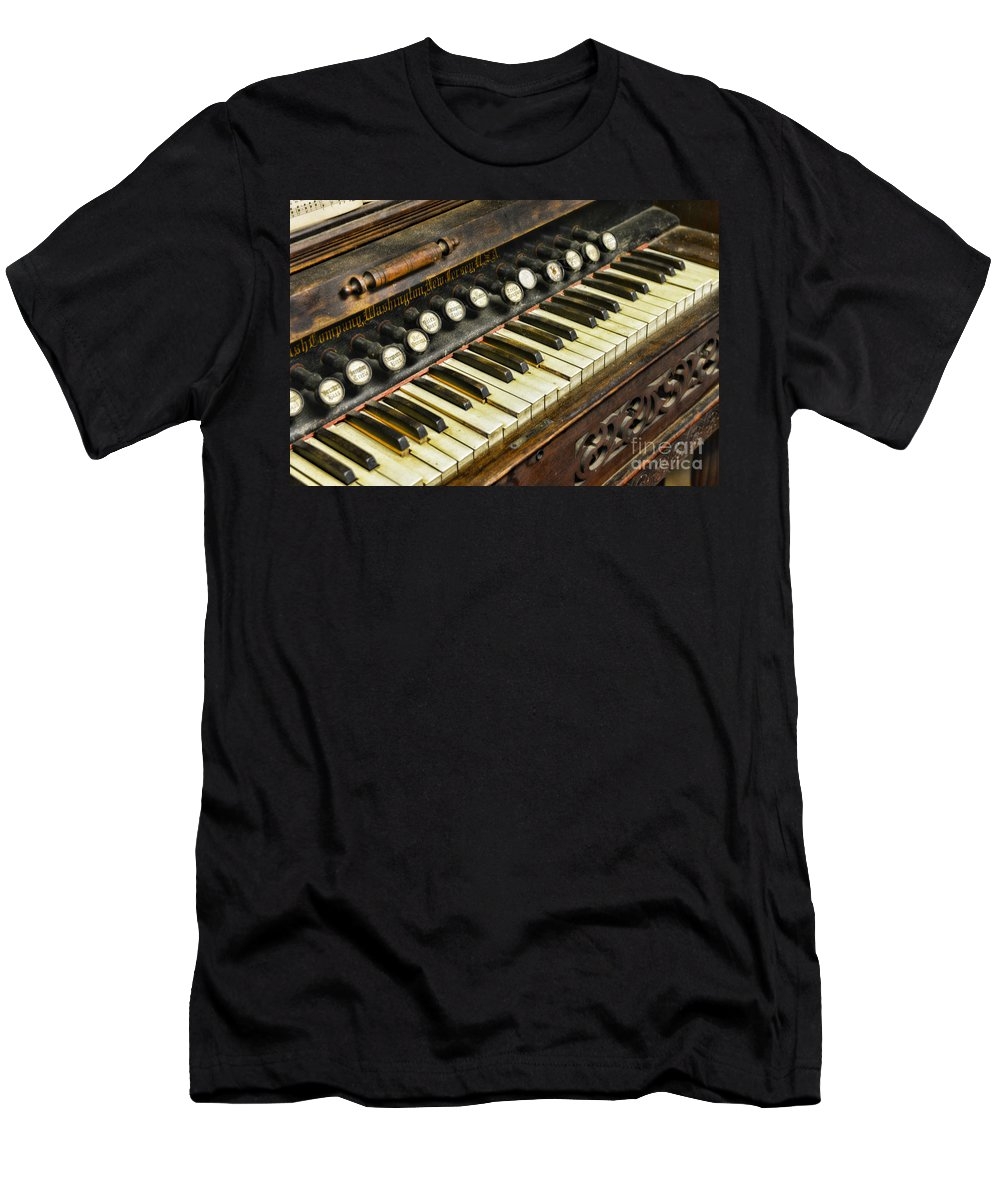 Music - Pump Organ - Antique Men's T-Shirt (Athletic Fit) featuring the photograph Music - Pump Organ - Antique by Paul Ward