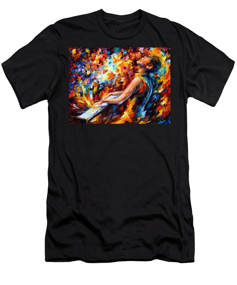 Afremov Men's T-Shirt (Athletic Fit) featuring the painting Music Fight by Leonid Afremov