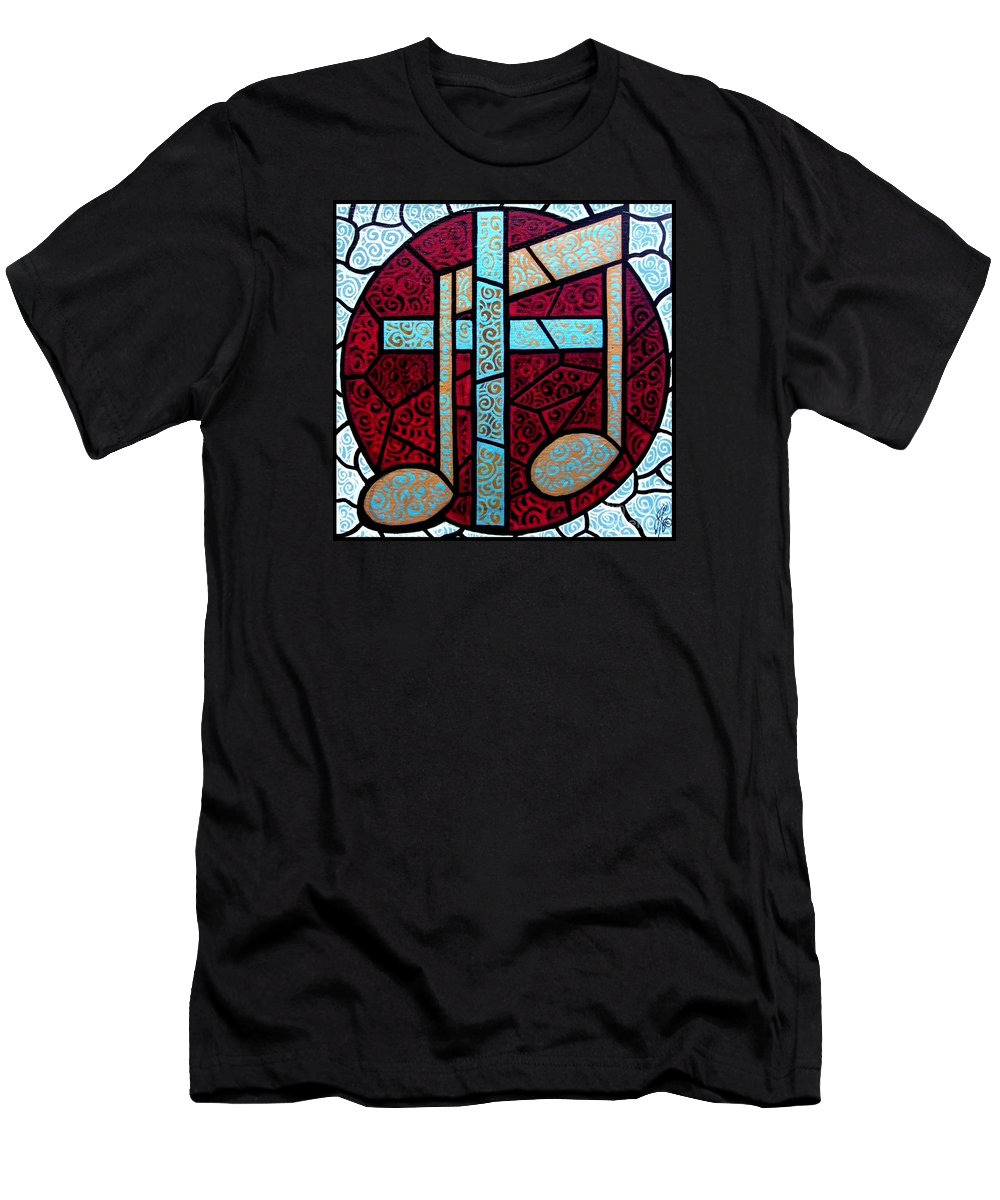 Cross Men's T-Shirt (Athletic Fit) featuring the painting Music Of The Cross by Jim Harris