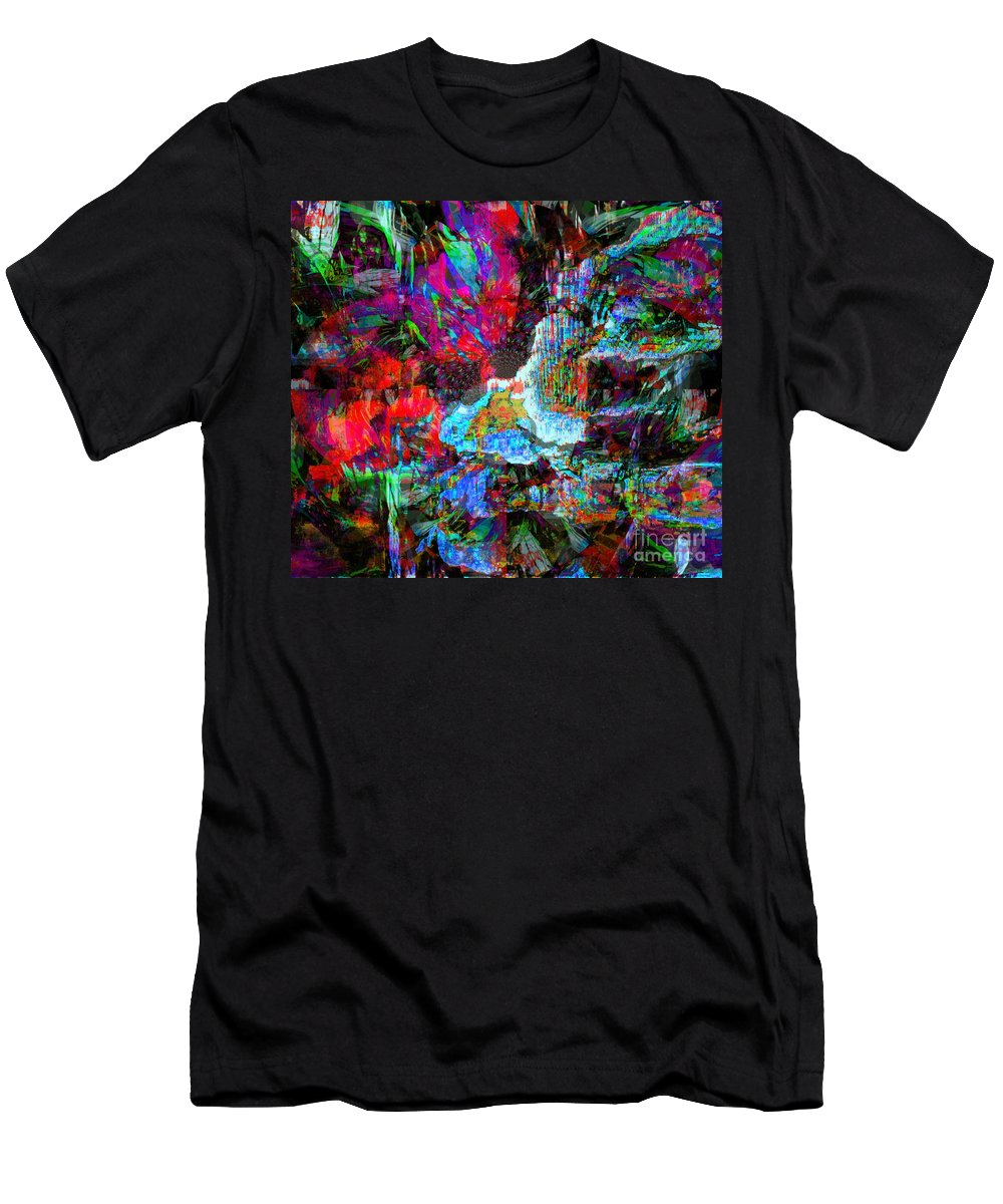 Fania Simon Men's T-Shirt (Athletic Fit) featuring the mixed media Musical Fountain by Fania Simon