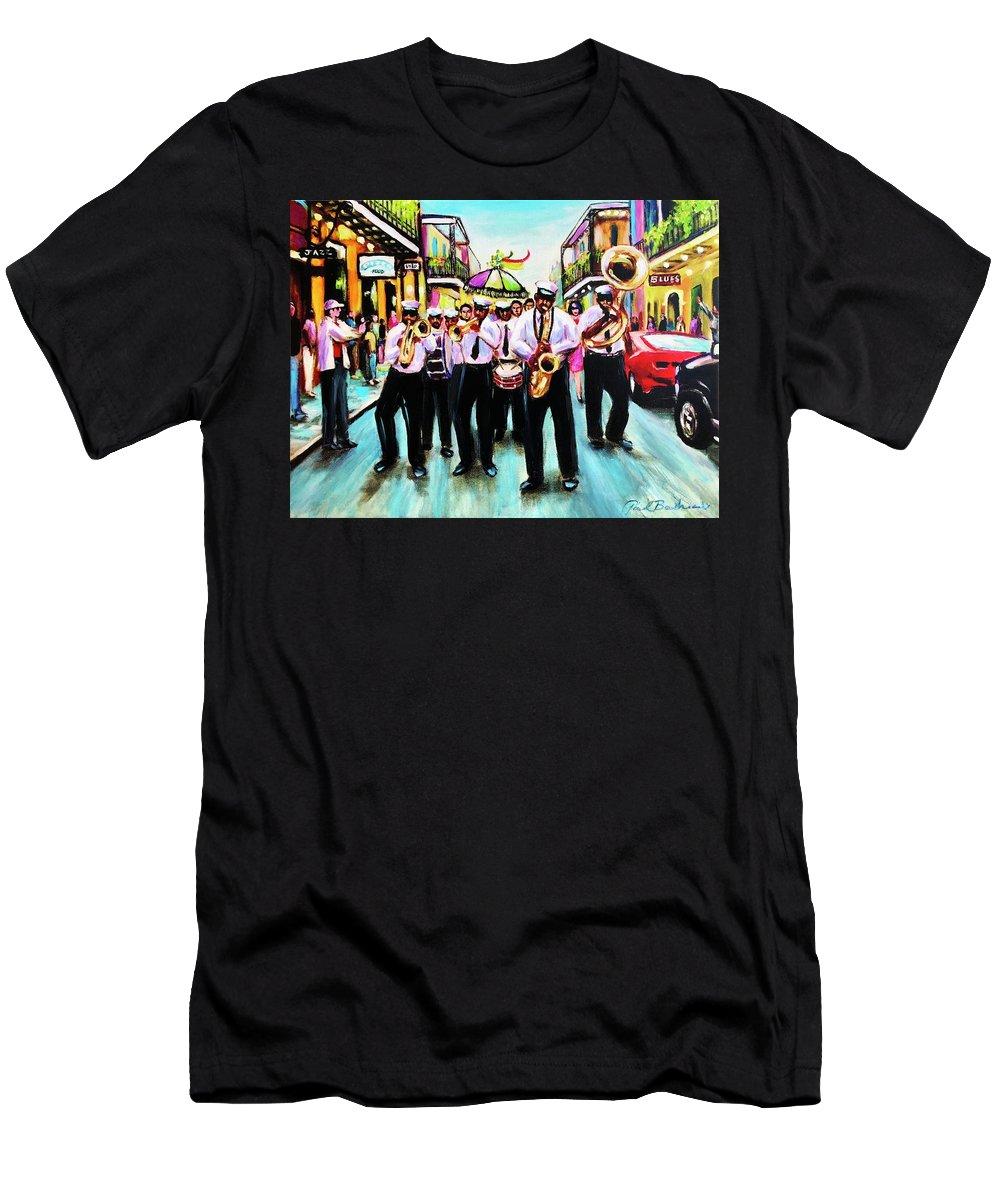 New Orleans Art Men's T-Shirt (Athletic Fit) featuring the painting Musique De' Rue by Paul Boudreaux