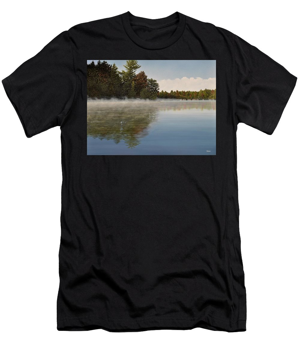 Lakes Men's T-Shirt (Athletic Fit) featuring the painting Muskoka Morning Mist by Kenneth M Kirsch