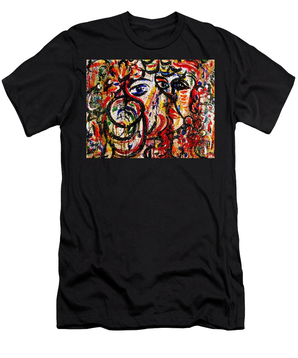 Free Expressionism Men's T-Shirt (Athletic Fit) featuring the painting Mutual Admiration by Natalie Holland
