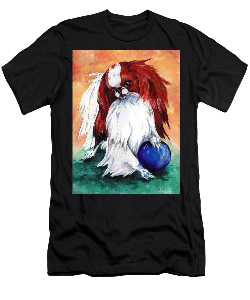 Japanese Chin Men's T-Shirt (Athletic Fit) featuring the painting My Ball by Kathleen Sepulveda